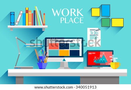 Flat design interior concept of work place with computer, laptop, lamp, to do list, working programs on monitor, organizer, shelf, books, and cup of coffee on blue wall background - stock vector