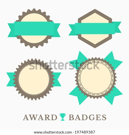 Flat design Labels with retro colors - stock vector