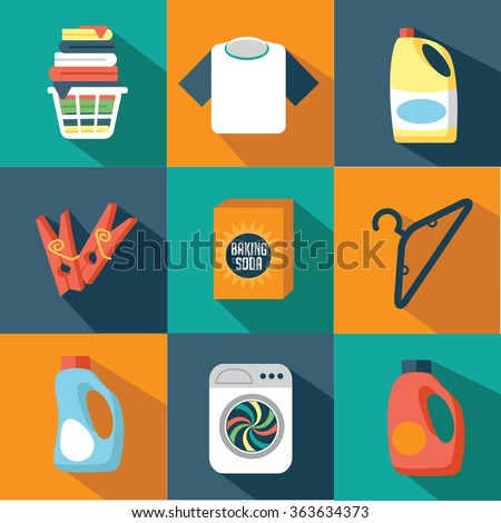 Flat design laundry icon collection. EPS 10 vector - stock vector