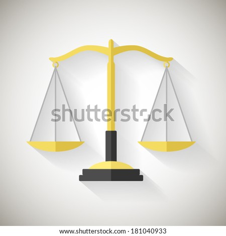 Flat Design Law Symbol Justice Scales Icon Vector Illustrator on Grey Background - stock vector