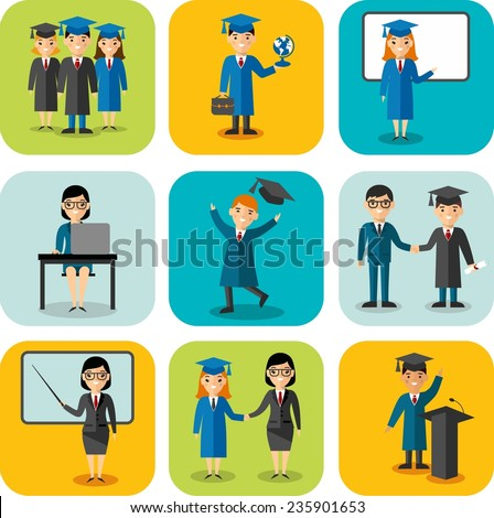 Flat design learning concept for education with graduates, teachers. Set of education concept with graduates, teachers, pupil, students in graduation gown and mortarboard  - stock vector
