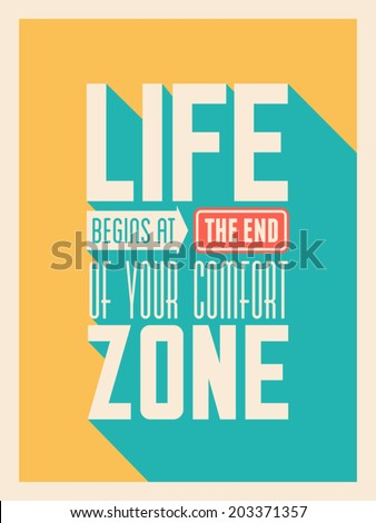 Flat design long shadow inspirational poster in vibrant colors. - stock vector
