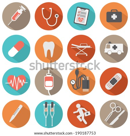 Flat Design Medical icons - stock vector