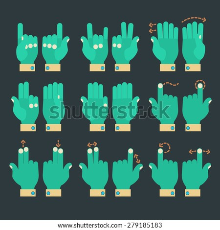 Flat design modern cartoon zombie style multitouch gestures hands icons - stock vector