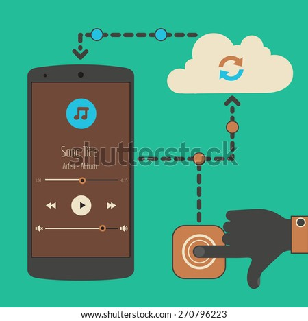 Flat design modern concept of mobile media player with cloud technology touch synchronization - stock vector