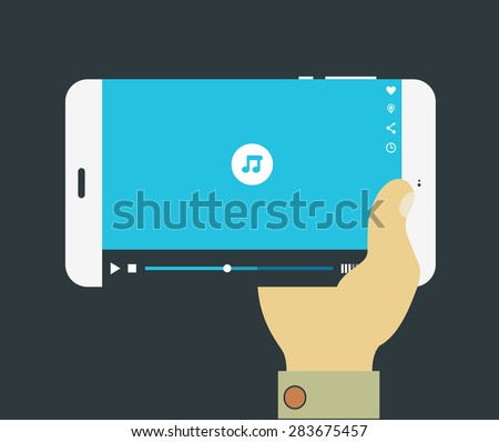 Flat design modern concept with hand holding mobile device with media player application - stock vector