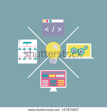 Flat design modern Internet Technology development web page and application programming code  - stock vector