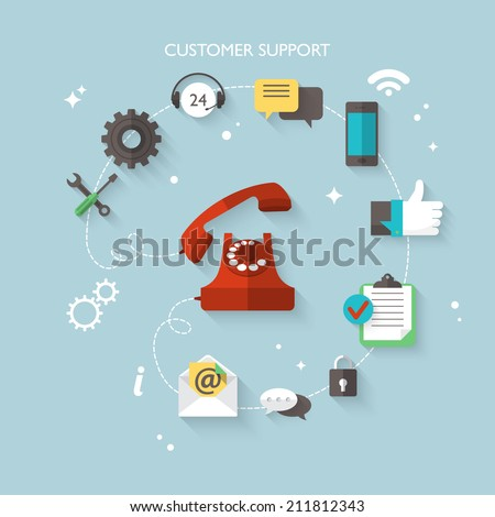 Flat design modern vector illustration concept for customer support service - stock vector