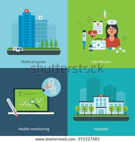 Flat design modern vector illustration concept for medical care, healthcare, health monitoring, medical center and hospital building - stock vector