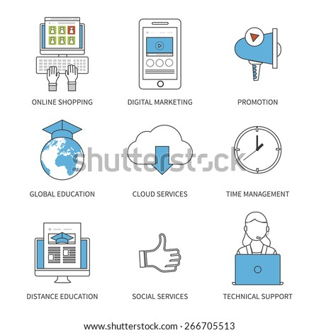 Flat design modern vector illustration concept for online shopping, digital marketing, promotion, education, cloud services, time management, social services and technical support. Thin line icons.  - stock vector
