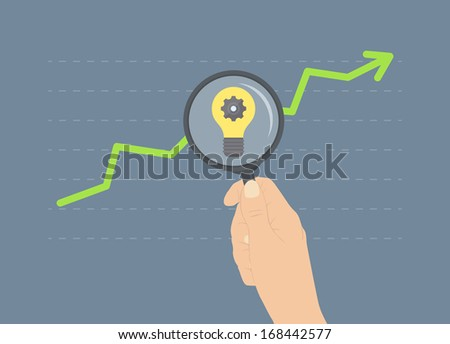 Flat design modern vector illustration concept of analyzing business rise, ideas for future growth, analytics of further financial and economic future. Isolated on stylish colored background - stock vector