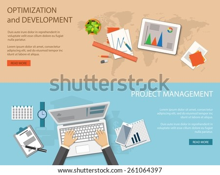 Flat design modern vector illustration concept of business optimization and development and project management - eps10 - stock vector