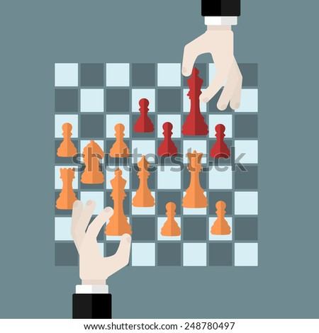 Flat design modern vector illustration concept of chess game strategy with isolated hands holding chess pieces over chessboard - stock vector