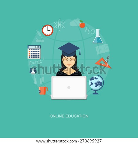 Flat design modern vector illustration concept of education, tutorials, learning with girl, globe  and laptop - eps10 - stock vector