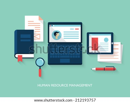 Flat design modern vector illustration concept of human resource management - stock vector