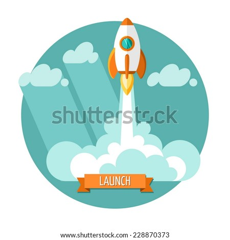 Flat design modern vector illustration concept of new business project start-up development and launch a new innovation product on a market. - stock vector