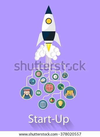 Flat design modern vector illustration concept of new business project startup development and launch a new innovation product on a marke. Rocket related to some icons. beautiful style and color. - stock vector