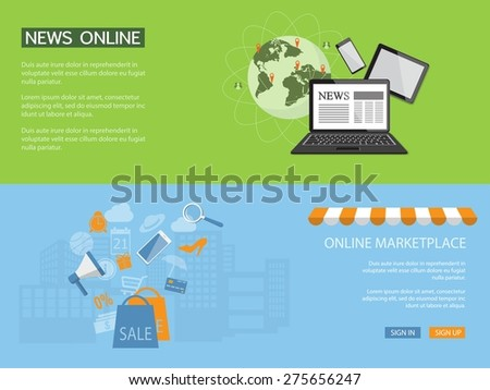 Flat design modern vector illustration concept of news, shopping online, e-mail marketing, management with laptop - eps10 - stock vector