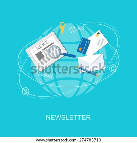 Flat design modern vector illustration concept of online business, marketing, management with credit card, envelope, pencil and loupe - eps10 - stock vector