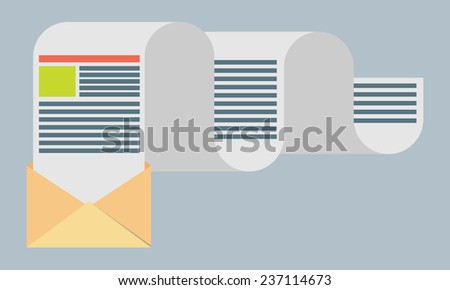 Flat design modern vector illustration concept of regularly distributed news publication via e-mail with some topics of interest to its subscribers. - stock vector