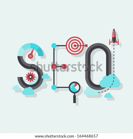 Flat design modern vector illustration concept of SEO word combined from elements and icons which symbolized a success internet searching optimization process. Isolated on stylish colored background  - stock vector