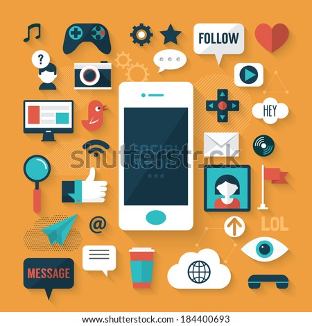 Flat design modern vector illustration concept of social media icons - stock vector