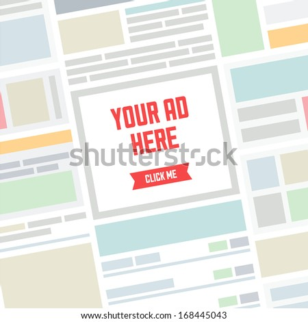 Flat design modern vector illustration concept of the abstract website page background with simple banner advertisement place and text for your ad here. Online advertising internet concept. - stock vector