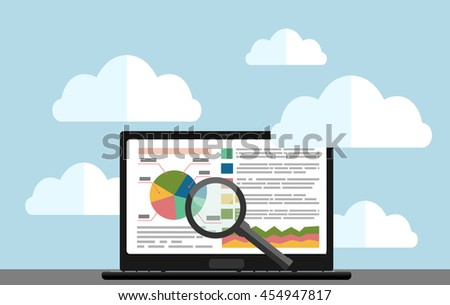 Flat design modern vector illustration concept of website analytics search information and computing data analysis using modern electronic and mobile devices. - stock vector