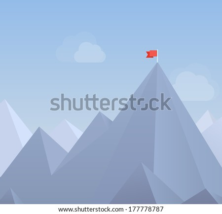Flat design modern vector illustration concept with copy space of flag on the mountain peak, meaning overcoming difficulties, goals achievement, winning strategy with focus on results - stock vector