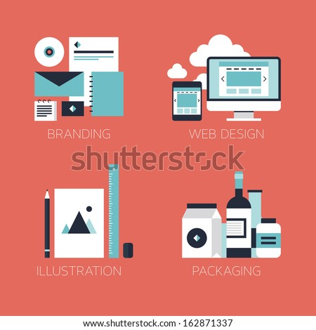 Flat design modern vector illustration icons set of brand identity style, web and mobile design, illustration objects and packaging design for company branding. Isolated on stylish red background.  - stock vector
