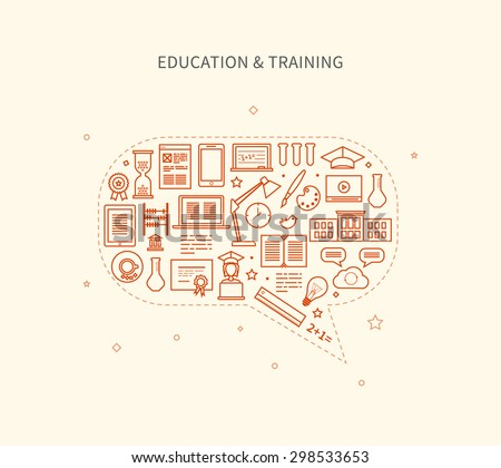 Flat design modern vector illustration icons set of distance education, e-learning, courses and training.  - stock vector