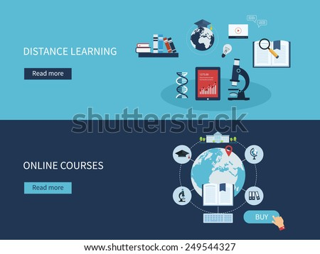 Flat design modern vector illustration icons set of distance learning and online courses - stock vector