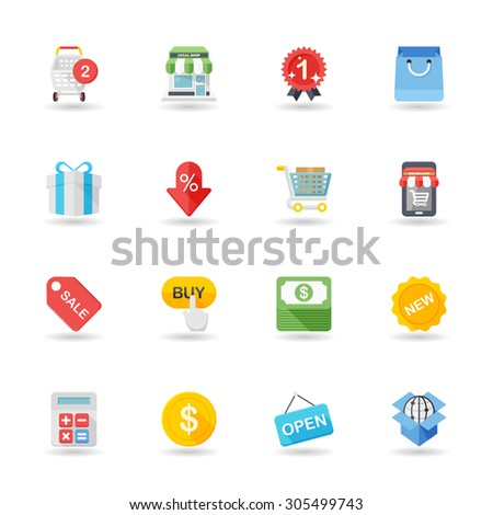 Flat design modern vector illustration icons set of shopping in stylish colors. - stock vector