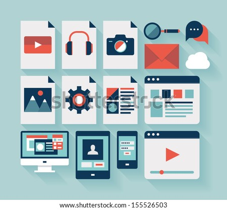 Flat design modern vector illustration icons set of user interface, computing technology and mobile devices with long shadow effect. Isolated on stylish turquoise background. - stock vector