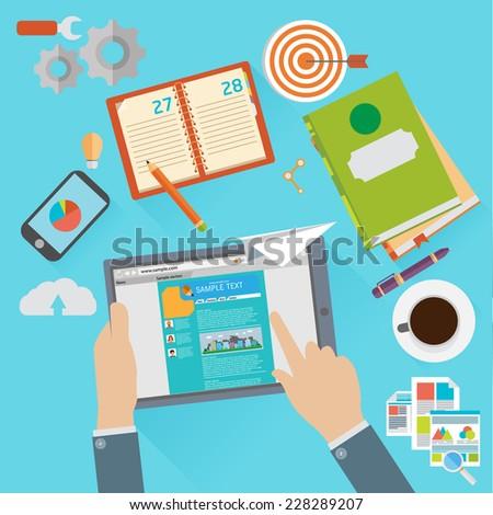 Flat design modern vector illustration icons set of website SEO optimization - stock vector