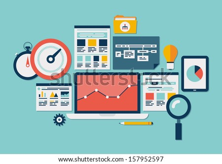 Flat design modern vector illustration icons set of website SEO optimization, programming process and web analytics elements. Isolated on stylish colored background - stock vector