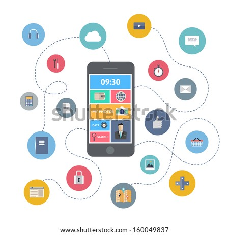 Flat design modern vector illustration infographic concept of variety using of smartphone with lots of multimedia icons and stylish mobile user interface on the phone. Isolated on white background. - stock vector