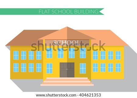 Flat design modern vector illustration of school building icon set, with long shadow. - stock vector