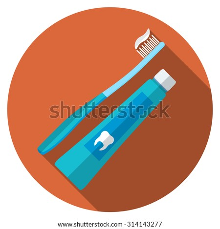 Flat design modern vector illustration of tooth brush and paste icon with long shadow, isolated - stock vector