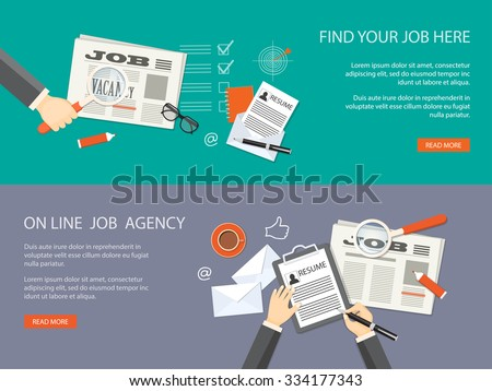 Flat design modern vector illustration. Set of banners for job site  with hands, loupe, newspaper, icons and hand drawn symbols. EPS 10. - stock vector