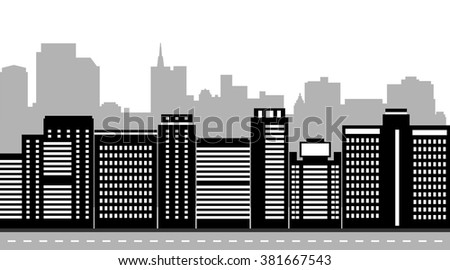 Flat design modern vector illustration set of urban landscape and city life. Black and white houses. Buildings design. - stock vector