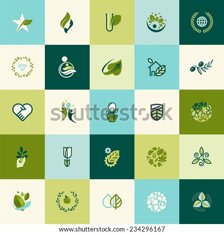 Flat design nature icons for websites, print and promotional materials, web and mobile services and apps, for food and drink, spa, cosmetics, wellness, natural product, healthy life, green technology. - stock vector