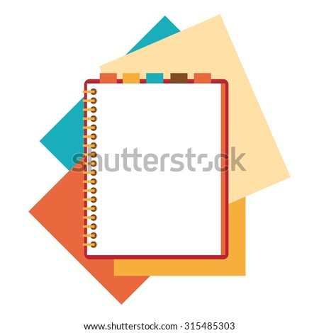 Flat design notepad and paper sheets isolated on white background whit place for text. - stock vector