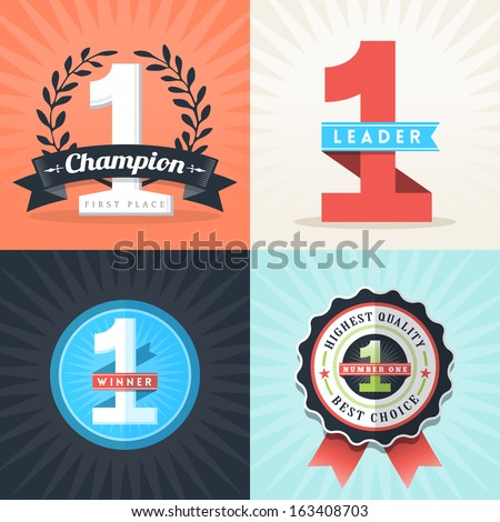 Flat Design Number One First Place Winner ribbons and badges - stock vector