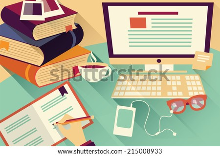 Flat design objects, work desk, office desk, books, computer and stationery - stock vector