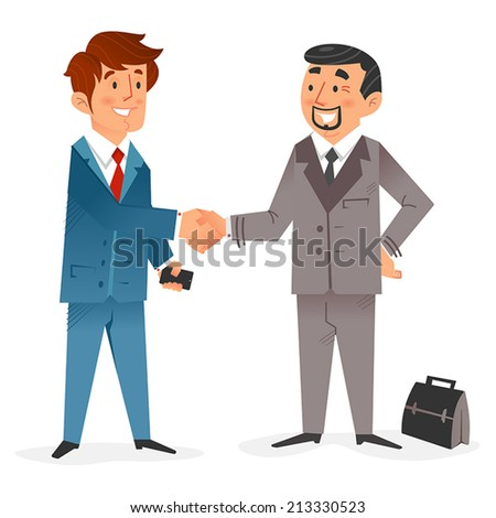 Flat design of a happy modern  businessman with smartphone closing a deal with another  businessman with a brief case  - stock vector