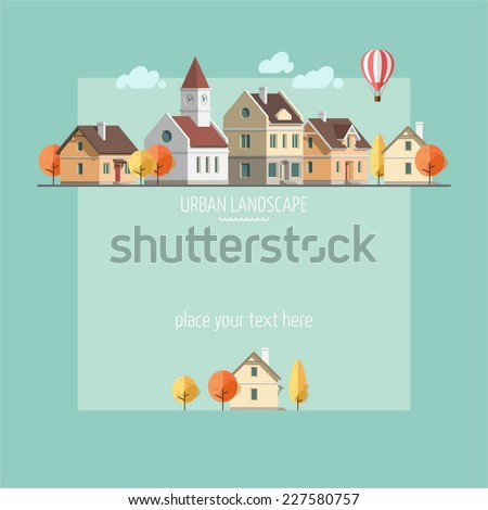 Flat design of an autumn urban landscape - vector illustration. - stock vector