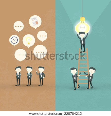 flat design of businessmen cooperation concept over orange and blue - stock vector