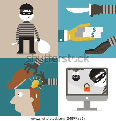 Flat design of cartoon character set, concept in thief, hacker, robber, burglar, and computer spam. - stock vector
