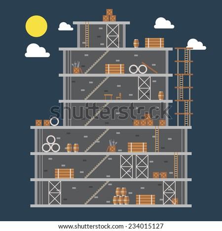 Flat design of construction site illustration vector - stock vector